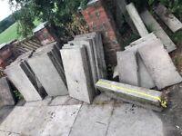 22 3ftx2ft grey concrete paving flags. 6 x smaller part flags & 6 - 3ft kerb stones