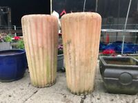 2 extra large terracotta garden clay pots