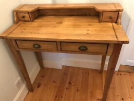 Slim solid wood desk with drawers