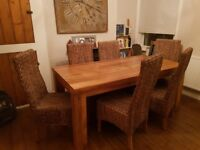 6ft x 3ft solid mango dining table and 6 chairs