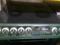 Green Creda 60cm ceramic hub electric cooker grill & double oven good condition with guarantee