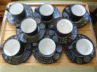 8 Retro Habitat Scraffito Cup & Saucers for sale  Gilmerton, Edinburgh