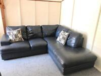 Luxury large full Grey / Blue leather corner Sofa Suite