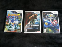 Super Mario Galaxy Wii, Sonic Colours Wii, Metroid Prime Corruption Wii