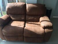 Two seater brown recliner sofa