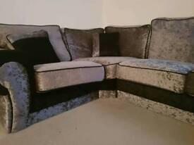 Crushed silver velvet sofa