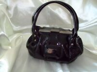 JASPER CONRAN - SMALL BLACK - SEMI PATENT - TWO HANDLE GRAB BAG.