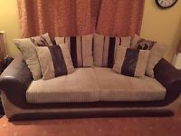 SCS Brown 3 seater cord sofa and faux leather arms, excellent condition, will deliver, £160 ono