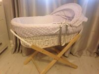 Moses Basket with stand (Johnston) - £55 ONO