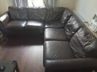 Brown Leather corner shape sofas