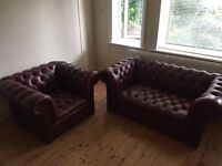 2 Seater Chesterfield Sofa & Armchair - Ox blood Red - Excellent Condition!!