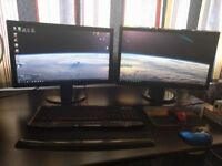 Used Gaming PC with dual (2x) monitors - intel i3 4170 3.7GHz dual core - NVIDIA GTX750ti - 8GB RAM