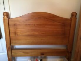 Single pine frame bed with mattress