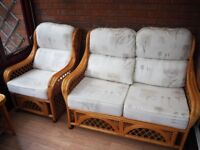 4 Piece Cane Conservatory Furniture Set