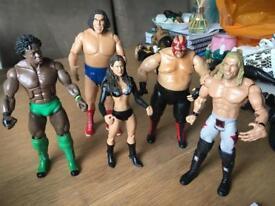 Set of 5 WWE wrestlng figures