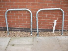 2 new galvanized steel cycle hoop stands