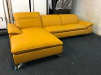 Yellow chaise end corner sofa l shape designer duck egg ratchet headrests