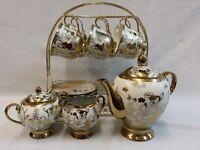 NEW 16PC PORCELAIN CHINA TEA SET,CUPS,TEA POT,GOLD FLOWER DESIGN /DISPLAY STAND