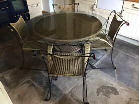 Wicker table & 4 chairs