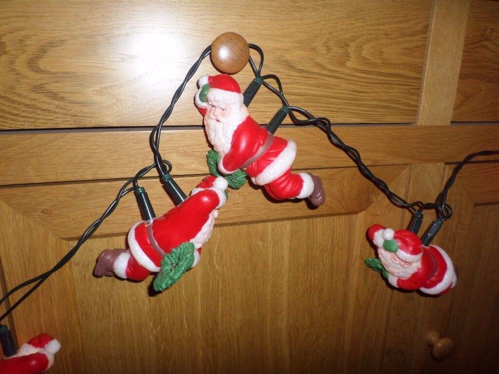 VINTAGE SANTA CLAUS CHRISTMAS LIGHTS, 10 SANTAS