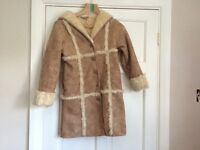 Next girls brown faux suede coat age 9-10 years