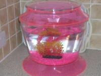 Pink Fish Bowl/tank, Large size, includes a pump and plant and pink stones.
