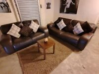 Brown DFS 3 seater and 2 seater sofas very comfortable real leather modern design