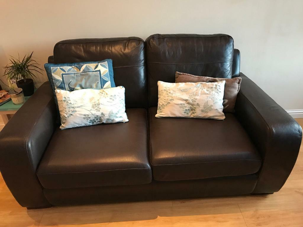 Brown Real Leather Sofa Bed 3 Seater Couch In Inverness