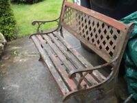 Ornate Cast Iron and Wood Garden Bench (needs re slating)