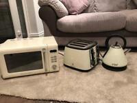 Russell Hobbs microwave, toaster and kettle in cream
