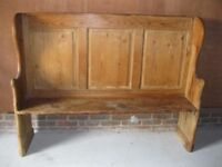 OLD PINE SETTLE . Delivery possible. Also for sale : CHURCH PEW, SMALL MONKS BENCH & CHAPEL CHAIRS.