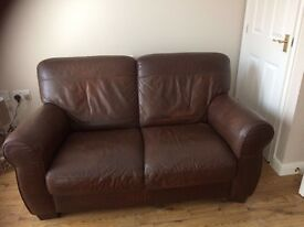 2 leather two seater sofas