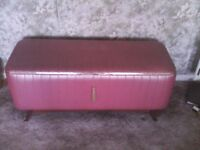 1950/60's Pink padded ottoman with gold braiding and tassel.
