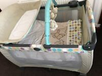 Graco travel cot with its travel bag & matching mothercare duvet