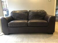 Dark Brown real leather double sofa bed