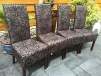Four Gorgeous Patterned Dining Chairs, Brand New.
