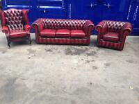 Genuine original leather chesterfield 3 piece suite