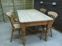 Rustic Pine Farmhouse Table and 4 Chairs