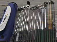 A selection of Golf clubs including a holdall. Various makes inc Onyx/Regency and Cobra.