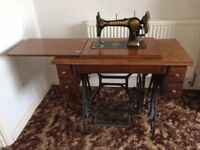 Vintage Jones Sewing Machine on fold out Pedal Table