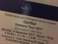 Gorillaz standing tickets x2 - The O2 4th December