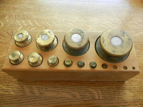 Large Vintage Brass Weight Set 10-2000 Grams