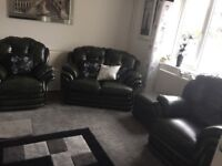 Senator antique leather suite, remote control electric recliner armchairs, 1 storage stool