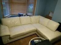 Corner sofa - cream leather