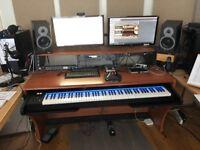 Zaor Miza 88XL Studio Desk with 19 inch racks with pull out 88 key keyboard tray