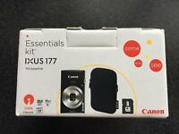 Canon IXUS 177 Digital camera kit with 8GB SD card lithium battery and case