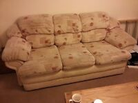 Sofa, fabric 3 seater, used good condition, comfy, 2.15m x 1m