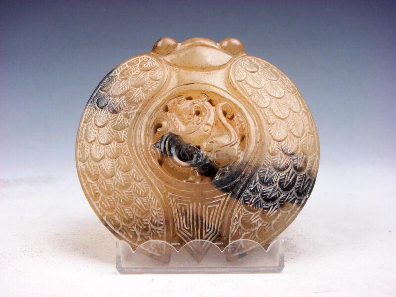 Old Nephrite Jade Carved Sculpture Monster Cicada & Monster Pi-Xiu #07022104