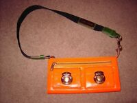 MARC JACOBS DUAL PURSE BAG IN BEAUTIFUL ITALIAN ORANGE/GREEN LEATHER WITH GOLD COST£120 SELL FOR £30