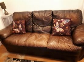 3 seater brown sofa